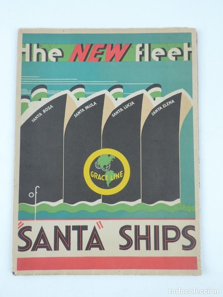 PUBLICIDAD DEL BARCO SANTA, ADVERTISEMENT, THE NEW FLEET OF SANTA SHIPS, CA. 1930. PUBLISHED BY GRAC (Postales - Postales Temáticas - Barcos)