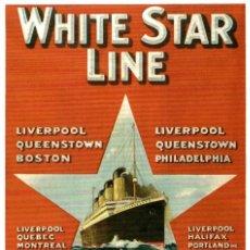 Postales: WHITE STAR LINE SOUTHAMPTON-CHERBOURG-NEW YORK PAQUEBOTE SHIP. Lote 182441622