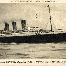 Postales: TRANSATLANTIQUE FRENCH LINE PARIS PAQUEBOTE SHIP. Lote 182442103