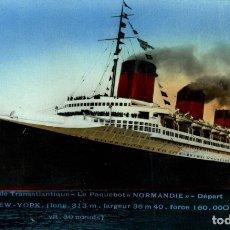Cartes Postales: TRANSATLANTIQUE LE PAQUEBOT 'NORMANDIE' PAQUEBOTE SHIP. Lote 182442908