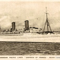 Postales: CANADIAN PACIFIC LINER 'EMPRESS OF FRANCE' PAQUEBOTE SHIP. Lote 182442932