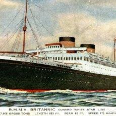 Cartes Postales: R.M.M.V. BRITANNIC PAQUEBOTE SHIP. Lote 182443435