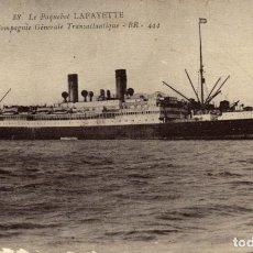 Postales: LE PAQUEBOT LAFAYETTE - DE LA COMPAGNIE GÉNÉRALE TRANSATLANTIQUE. Lote 182891520