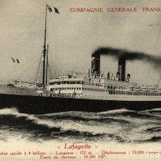 Postales: COMPAGNIE GENERALE TRANSATLANTIQUE LAFAYETTE. Lote 182895650