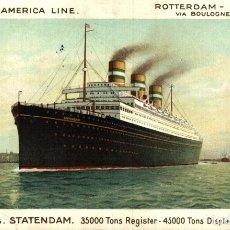Cartes Postales: HOLLAND AMERICA LINE ROTTERDAM NEW YORK STATENDAM. Lote 182896366