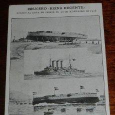 Postales: ANTIGUA POSTAL DEL CRUCERO REINA REGENTE, BOTADO EN EL FERROL EL 2 DE SEPTIEMBRE DE 1906, DIMENSIONE. Lote 190730887