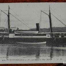 Postales: ANTIGUA POSTAL DE FUENTERRABIA, EL GUARDA COSTA MAC MAHON, SIN CIRCULAR. Lote 190731072