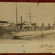 Postales: ESCUADRA INGLESA, PUERTO DE BARCELONA, 1903, CON PUBLICIDAD DE FUMADORES, PEDID SIEMPRE EL FAMOSO PA. Lote 190733222