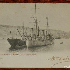 Postales: ESCUADRA INGLESA, PUERTO DE BARCELONA, 1903, CON PUBLICIDAD DE FUMADORES, PEDID SIEMPRE EL FAMOSO PA. Lote 190733367