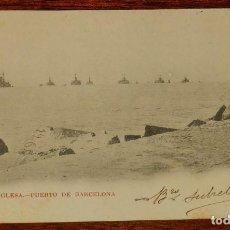 Postales: ESCUADRA INGLESA, PUERTO DE BARCELONA, 1903, CON PUBLICIDAD DE FUMADORES, PEDID SIEMPRE EL FAMOSO PA. Lote 190733536