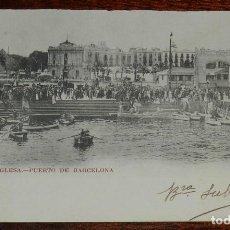 Postales: ESCUADRA INGLESA, PUERTO DE BARCELONA, 1903, CON PUBLICIDAD DE FUMADORES, PEDID SIEMPRE EL FAMOSO PA. Lote 190733668