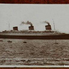 Postales: FOTO POSTAL TRASATLANTIQUE NORMANDIE, CIRCULADA EN 1936. Lote 190734255