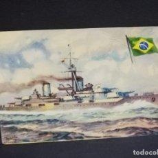 Postales: TARJETA POSTAL DE BARCOS. ACORAZADO MINAS GERAES. MARINA DE GUERRA. BRASIL. CHOCOLATE LA ESTRELLA.. Lote 190801830