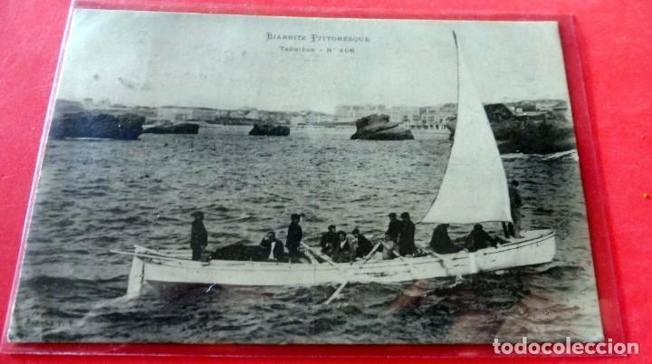 POSTAL - BIARRITZ PITTORESQUE - TRÉNIÈRE Nº 106 - CIRCULADA (Postales - Postales Temáticas - Barcos)