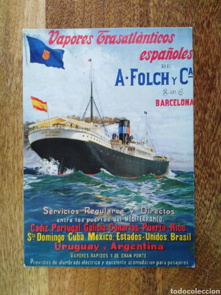 POSTAL BARCO JOSÉ GALLART NAVIERA A. FOLCH Y CÍA. VAPORES TRASATLÁNTICOS ESPAÑOLES. (Postales - Postales Temáticas - Barcos)