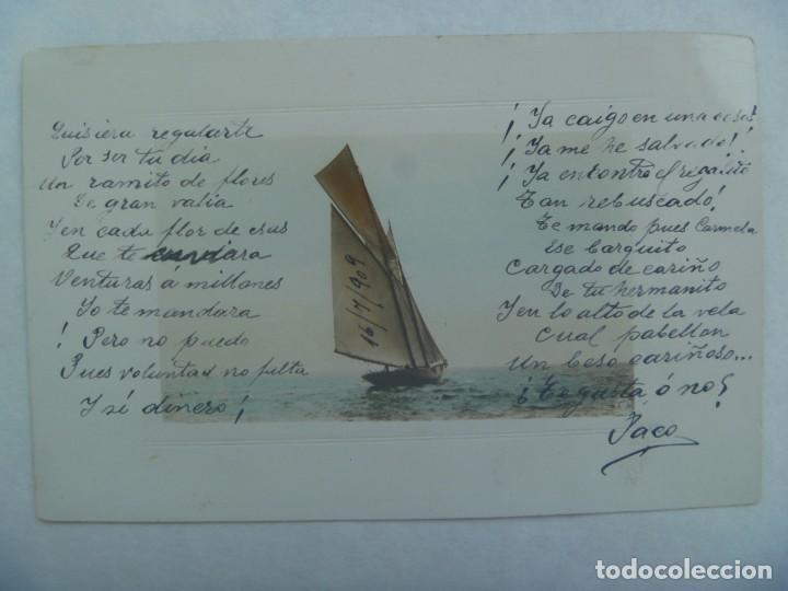 POSTAL CON BONITO DIBUJO DE UN BARCO VELERO. PRINCIPIOS DE SIGLO . ESCRITA EN 1909 (Postales - Postales Temáticas - Barcos)