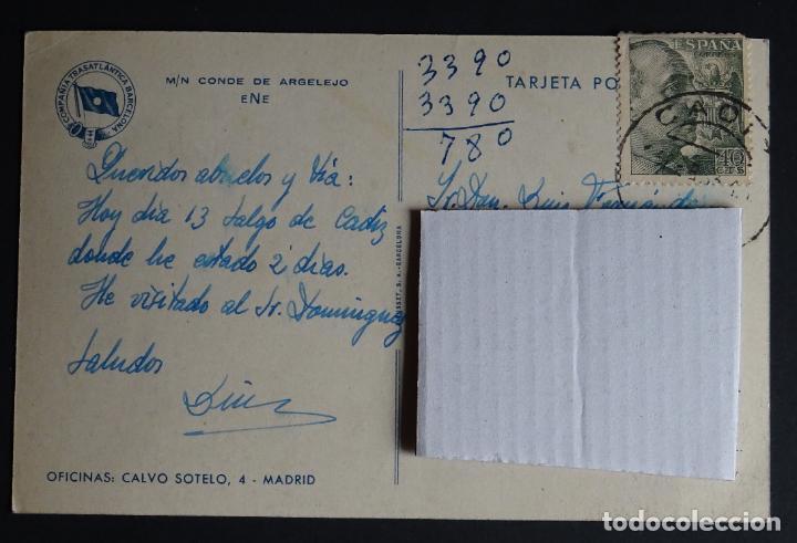 Postales: Buque Conde de Argelejo, compañia Trasatlantica Barcelona, postal circulada de los años 50 - Foto 2 - 194503985