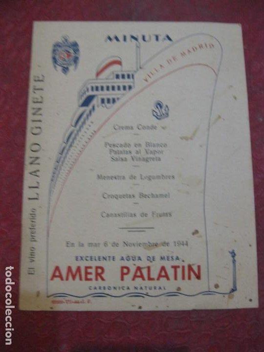 MINUTA MENU BARCO VILLA DE MADRID - 1944 16 /12 CM COMPAÑIA TRANSMEDITERRANEA (Postales - Postales Temáticas - Barcos)
