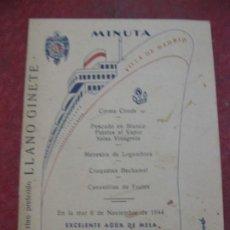 Postales: MINUTA MENU BARCO VILLA DE MADRID - 1944 16 /12 CM COMPAÑIA TRANSMEDITERRANEA. Lote 194691205