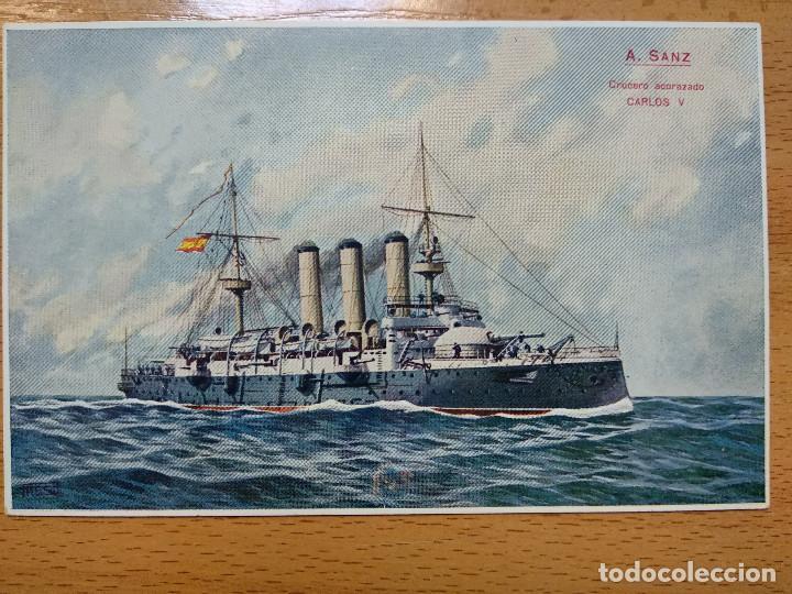 Postales: Postales Marítimas y Patrióticas. Serie verde. Ed.E.Agacino.Barcelona. - Foto 5 - 194884860