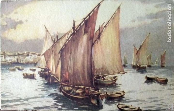 PINTURA: VELEROS, SERIE 127/3 EDICIONES COLÓN. NUEVA. COLOR (Postales - Postales Temáticas - Barcos)