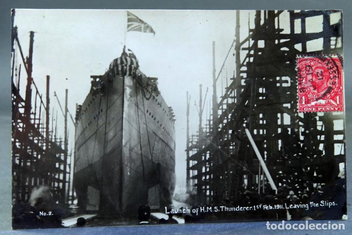 POSTAL SALIDA BUQUE HMS THUNDERER 1 FEBRUARY 1911 LEAVING THE SHIPS PUERTO ESSEX CIRCULAD SELLO 1912 (Postales - Postales Temáticas - Barcos)