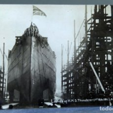 Postales: POSTAL SALIDA BUQUE HMS THUNDERER 1 FEBRUARY 1911 LEAVING THE SHIPS PUERTO ESSEX CIRCULAD SELLO 1912. Lote 195100866