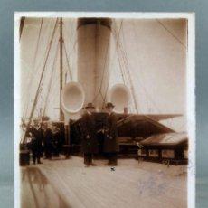 Postales: POSTAL FOTOGRÁFICA KOBENHAVN COPENHAGUEN DINAMARCA YATE RUSO ZAREVNA MARINEROS CIRCULADA SELLO 1912. Lote 195395868