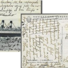 Postales: POSTAL AÑO 1935 * BARCO COLOMBO , NAVIGAZIONE GENERALE ITALIANA *. Lote 195994745