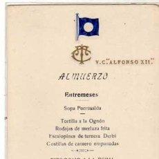 Postales: MENU DEL BARCO CRUCERO V. C. ALFONSO XII. ALMUERZO. 1921 AUTOGRAFOS AGUSTIN DE TORRÓNTEGUI, ETC. Lote 196900836