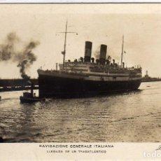 Postales: POSTAL BARCELONA - LLEGADA DE UN TRASATLANTICO - NAVIGAZIONE GENERALE ITALIANA . Lote 197458101