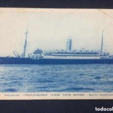 "Postales: BARCO R.M.S.P. ""ARLANZA"" (TRIPLE-SCREW 14, 930 TONS GROSS). SOUTH AMERICAN SERVICE - SIN CIRCULAR. Lote 205776496"