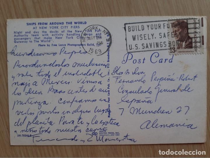 Postales: TARJETA POSTAL - BUQUES DE TODO EL MUNDO EN LA CIUDAD DE NUEVA YORK PIERS - BARCOS - Foto 2 - 206351671