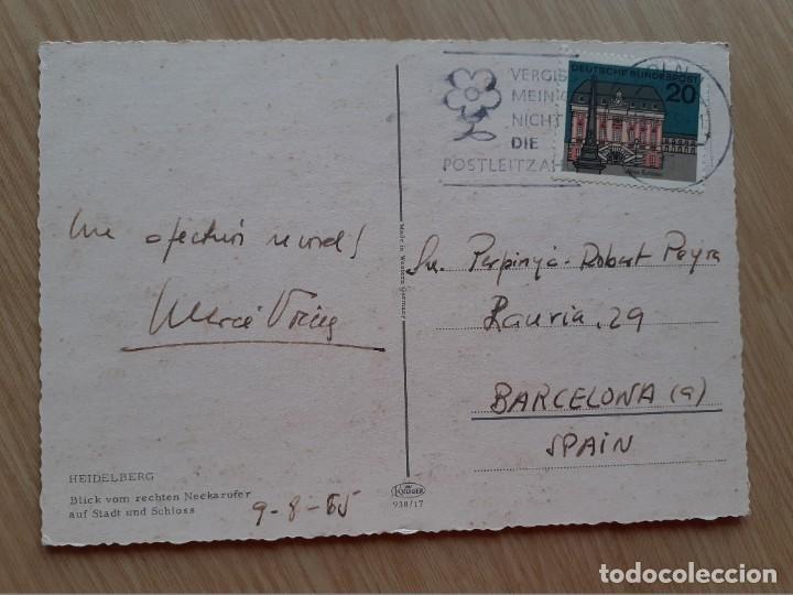 Postales: TARJETA POSTAL - HEIDELBERG VISTA DESDE EL CUELLO CORRECTO A LA CIUDAD Y AL CASTILLO - BARCOS - Foto 2 - 206357341