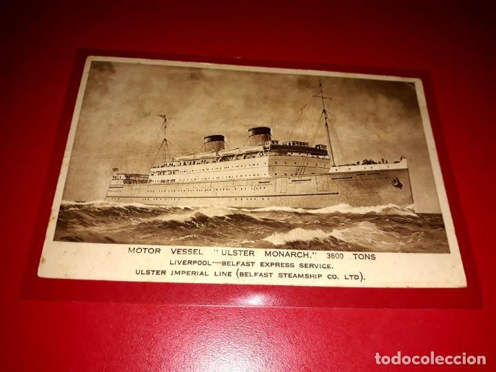 """ ULSTER MONARCH "" EXPRESS SERVICE LIVERPOOL - BELFAST CIRCULADA CON SELLO (Postales - Postales Temáticas - Barcos)"