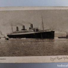 Postales: POSTAL AÑOS 20 SS LIMBURGIA LLOYD ROYAL HOLLANDAIS - JULIO PUIME FEIRIA - VIGO - GALICIA. Lote 212317258