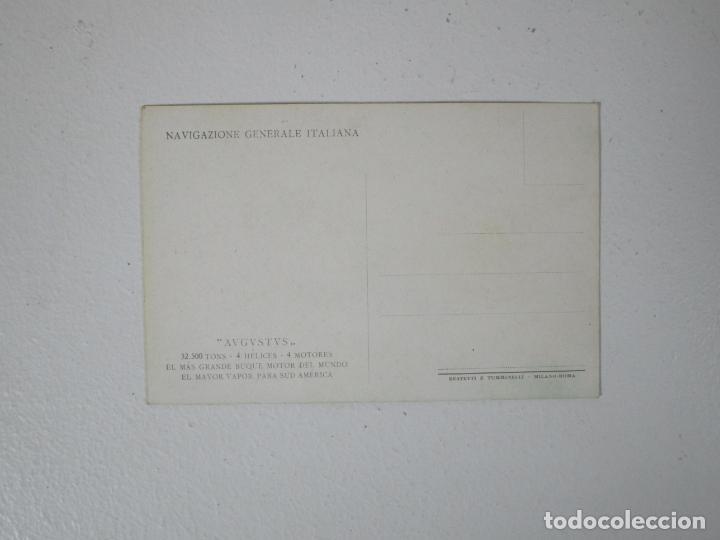 Postales: Postal Barco - Navigazione Generale Italiana - Augustus - El Más Grande Buque Motor del Mundo - Foto 2 - 215429232