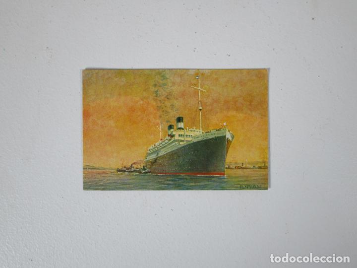 POSTAL BARCO - NAVIGAZIONE GENERALE ITALIANA - AUGUSTUS - EL MÁS GRANDE BUQUE MOTOR DEL MUNDO (Postales - Postales Temáticas - Barcos)