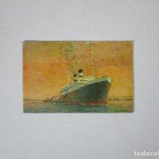 Postales: POSTAL BARCO - NAVIGAZIONE GENERALE ITALIANA - AUGUSTUS - EL MÁS GRANDE BUQUE MOTOR DEL MUNDO. Lote 215429232