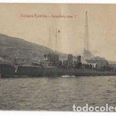 Postales: TARJETA POSTAL ESCUADRA ESPANOLA . TORPEDERO N7 , TIENE DOBLEZ. Lote 215805472