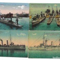 Postales: CUATRO TARJETAS POSTALES MARINA DE GUERRA ESPANOLA , EXTREMADURA, SUBMARINOS , C. CATALUNA. Lote 215807822