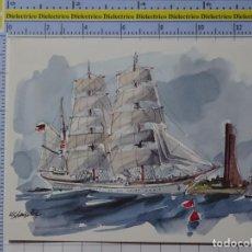 Postales: POSTAL DE BARCOS NAVIERAS. BARCO BUQUE ACUARELA BUQUE ESCUELA DE ALEMANIA. 2348. Lote 221844150