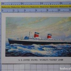 Postales: POSTAL DE BARCOS NAVIERAS. BARCO BUQUE TRASATLÁNTICO SS UNITED STATES. 2353. Lote 221844372