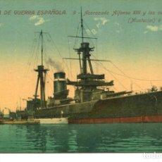 Postales: MARINA DE GUERRA ESPAÑOLA-ACORAZADO ALFONSO XIII Y LOS SUBMARINOS- VENINI Nº 9. Lote 223897058