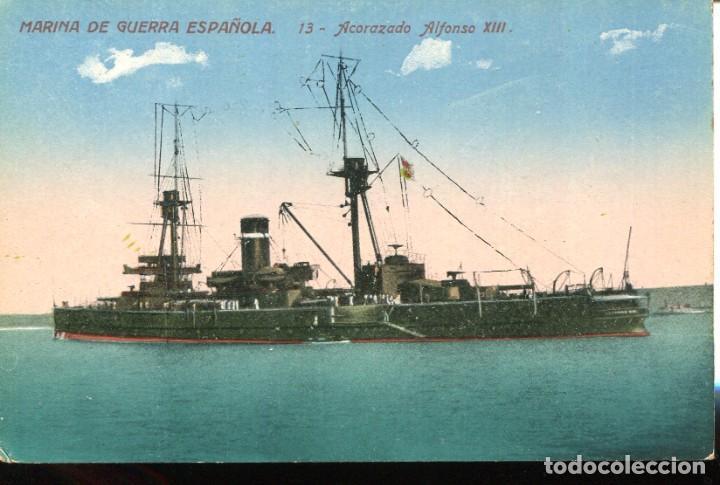 MARINA DE GUERRA ESPAÑOLA-ACORAZADO ALFONSO XIII- VENINI Nº 13 (Postales - Postales Temáticas - Barcos)