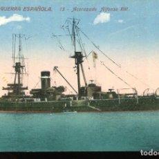 Postales: MARINA DE GUERRA ESPAÑOLA-ACORAZADO ALFONSO XIII- VENINI Nº 13. Lote 223904622