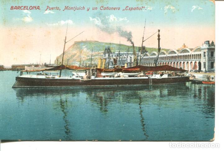 MARINA DE GUERRA ESPAÑOLA-PUERTO MONTJUICH Y CAÑONERO ESPAÑOL- VENINI (Postales - Postales Temáticas - Barcos)