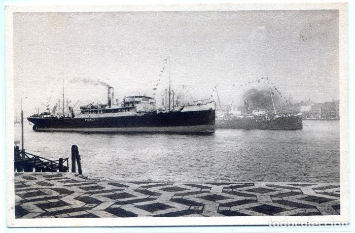 TRASATLÁNTICO PIROSCAFO PERLA, NAVIGAZIONE LIBERA TRIESTINA (Postales - Postales Temáticas - Barcos)