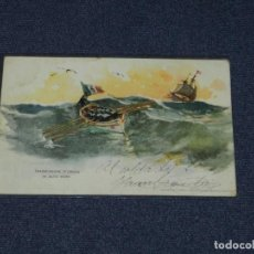Postales: BARCOS TRASMISSIONE D'ORDINI IN ALTO MARE,RICHTER & CO.NAPOLI,CIRCULADA 1904-14X9 CM.. Lote 231608745