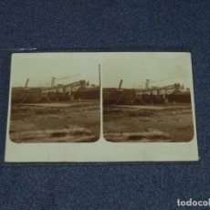 Postales: NAVEGACION POSTAL FOTOGRAFICA ESTERESCOPICA ASILLEROS NAVALES BARCELONA PRINCIPIO S. XX 14X9 CM.. Lote 231608865